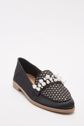 Sateen Encrusted Black Loafers