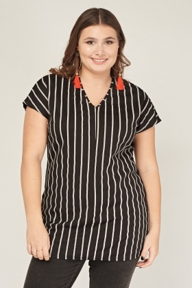 V-Neck Pinstriped Top