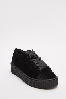 Velveteen Lace Up Black Creepers