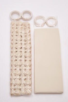 Beige Bath Mat And Shower Curtain Set