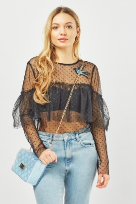 Bird Applique Mesh Ruffle Top