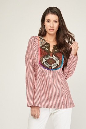 Ethnic Embroidered Stripe Blouse