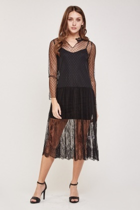 Lace Mesh Overlay Babydoll Dress