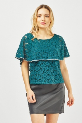 Sequinned Lace Overlay Top