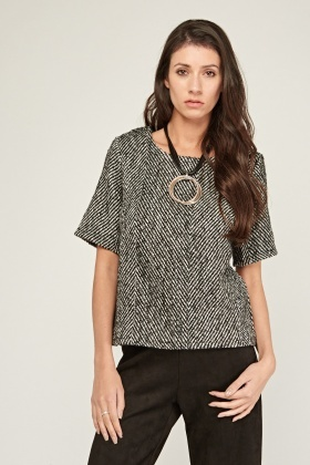 Short Sleeve Thick Woven Top