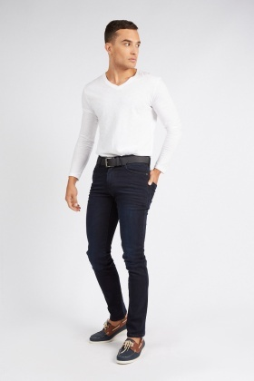 Slim Fit Navy Belted Jeans