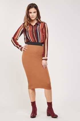 Textured Tube Pencil Skirt