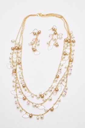 Beaded Layered Necklace And Earrings Set