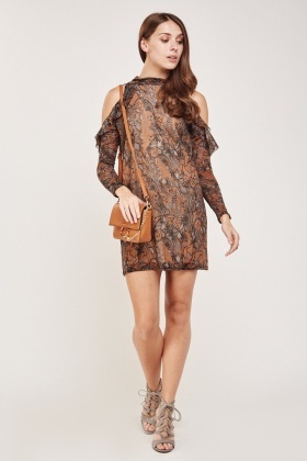 Cut Out Sheer Butterfly Print Dress