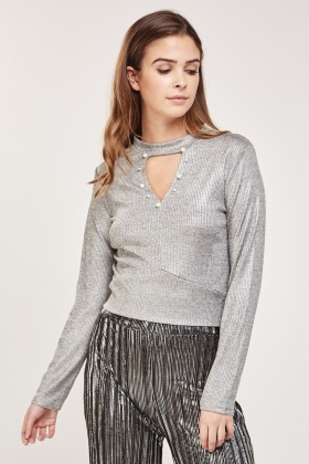 Embellished Keyhole Metallic Top