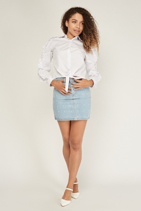 Faux Pearl Encrusted Denim Skirt