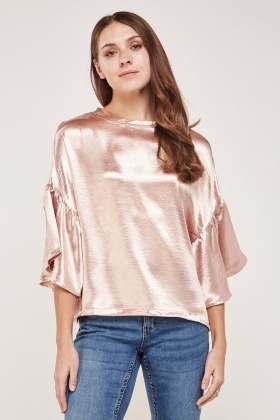 Frilly Sateen Sleeve Shell Top