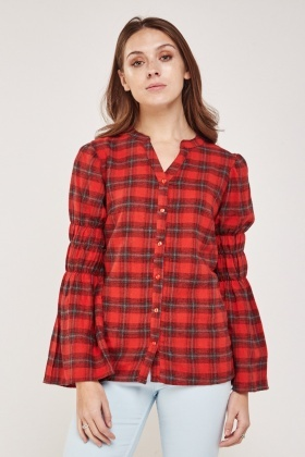 Gathered Sleeve Woven Plaid Blouse