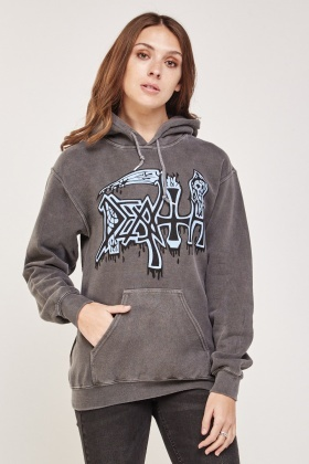 Graphic Printed Faded Hoodie