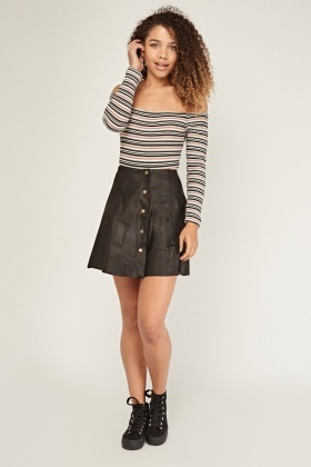 Mini A-Line Suedette Skirt