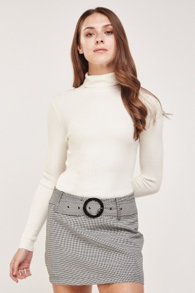 Roll Neck Ribbed Knit Top