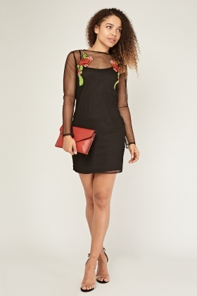 Rose Embroidered Mesh Overlay Dress
