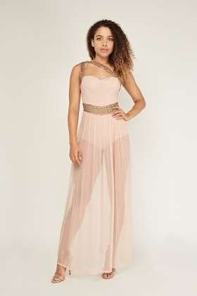 Sequinned Sweetheart Sheer Maxi Dress