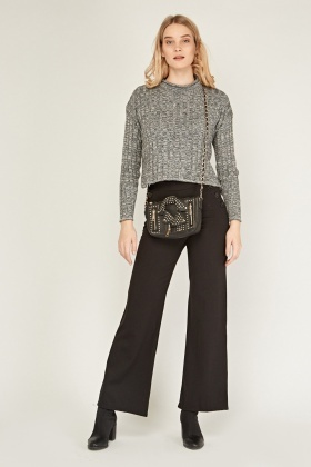 Button Trim Wide Leg Trousers