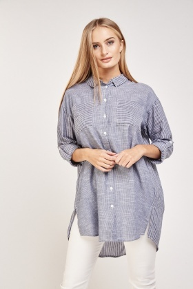Double Pockets Front Stripe Shirt
