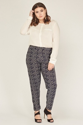 Elasticated Printed Tapered Trousers