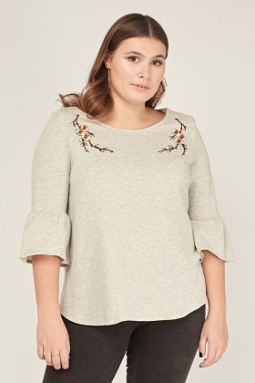 Embroidered Applique Speckled Top