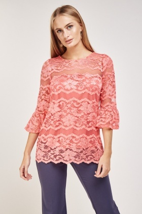 Frilly Sleeve Lace Overlay Top