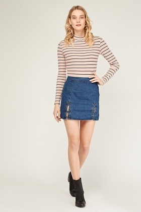 Lace Up Mini Denim Skirt