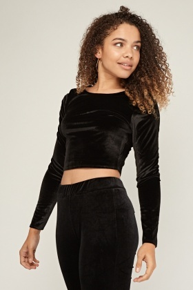 Long Sleeve Crop Velveteen Top