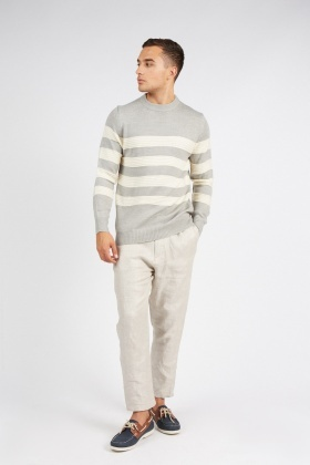 Ribbed Trim Knitted Striped Jumper