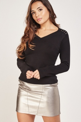 Studded Trim Fine Knit Pullover