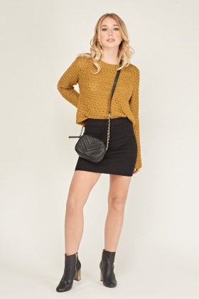 Textured Mini Knit Skirt