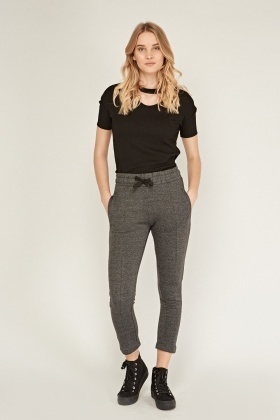 Tie Up Speckled Jogger Pants