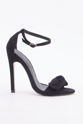 Bow Front Velveteen Heeled Sandals