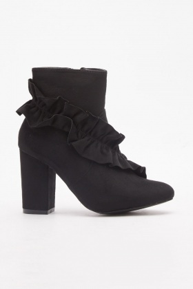 Ruffle Trim Ankle Boots