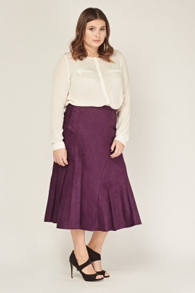 Suedette Swing Midi Skirt