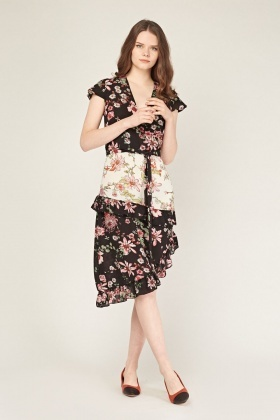 Asymmetric Floral Flare Dress