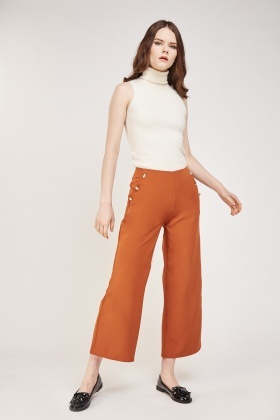 Button Detailed Wide Leg Trousers