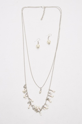 Embellished Layered Chained Necklace And Earrings Set