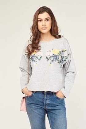 Embroidered Floral Grey Top