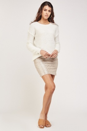 Eyelash Knitted Sheer Insert Jumper