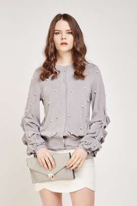 Faux Pearl Ruched Sleeve Cardigan