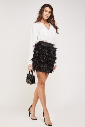 Feather Front Mini Skirt