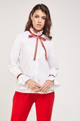 Pleated Tie Up Neck Trim Shirt