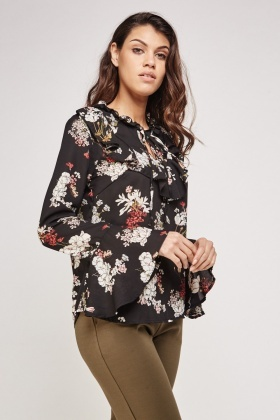 Ruffle Tie Up Neck Floral Blouse