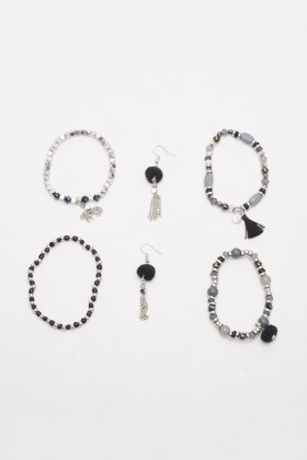 Beaded Pack Of 4 Bracelet And Earrings Set
