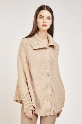 Cable Knit Casual Cape