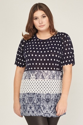 Digital Lace And Polka Dot Printed Top