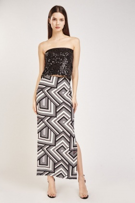 Illusion Printed Slit Side Maxi Skirt