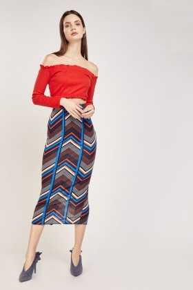 Mixed Zig Zag Print Maxi Skirt